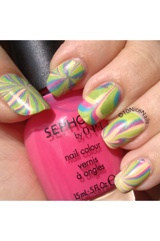 Watermarble nail art by Martha 10NiceNails