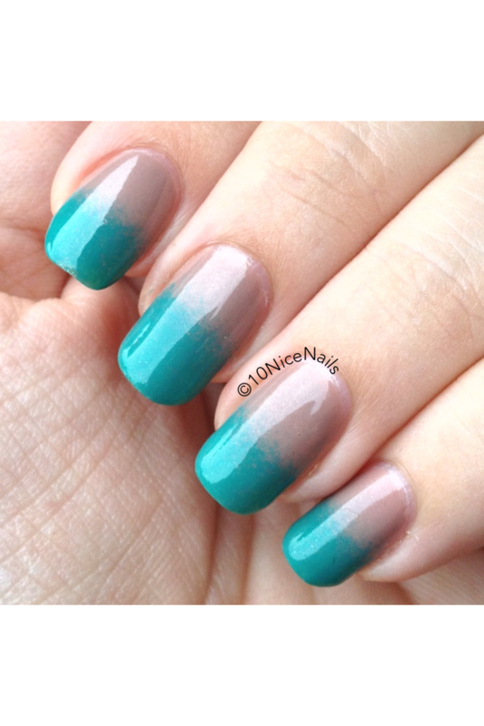Nude to Teal gradient nail art by Martha 10NiceNails