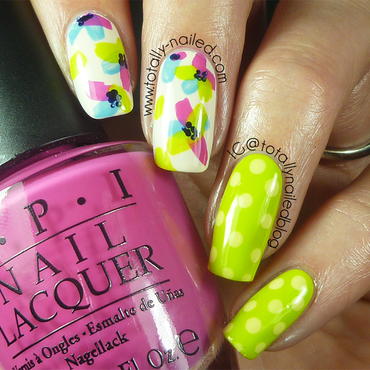Abstract Flowers and Polka Dots nail art by Danielle