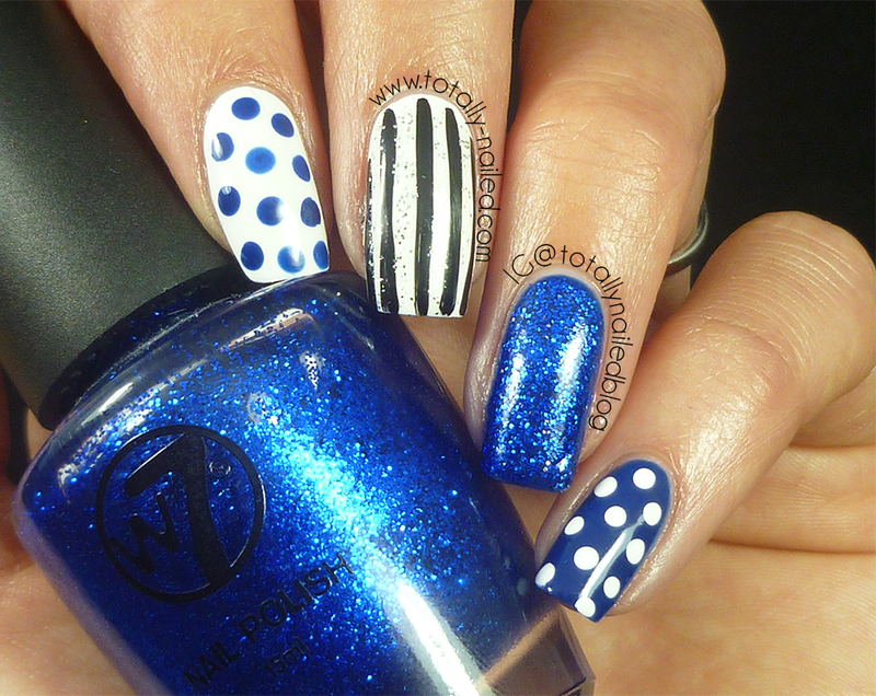 Blue and White Nail Art nail art by Danielle