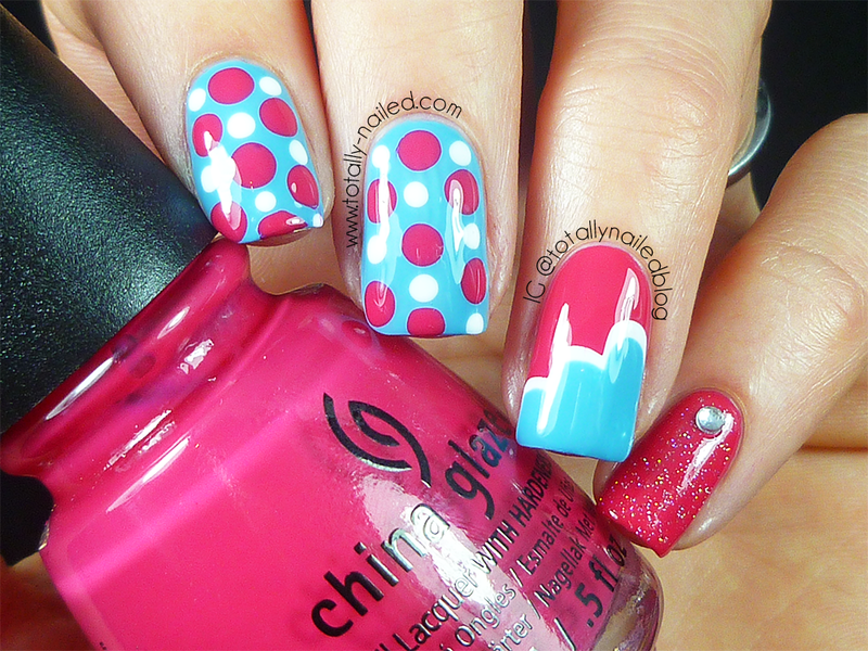 Blue red and white Nail Art nail art by Danielle