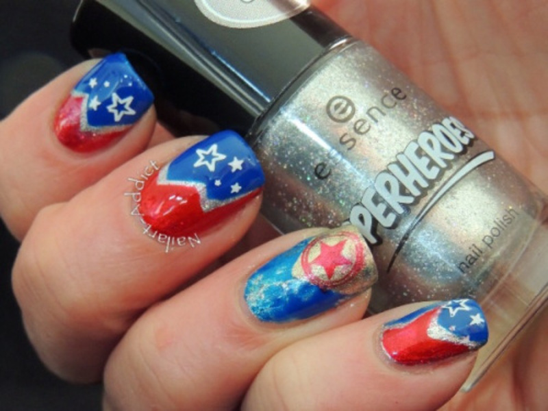 Wonder Woman nail art by Viv