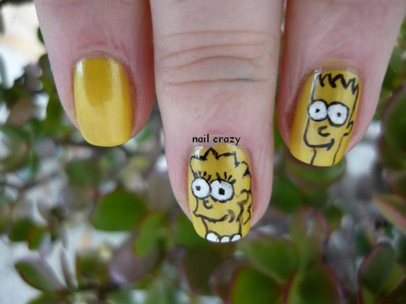 the simpsons... at least, two of them nail art by Žana