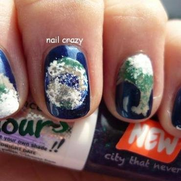 the earth  nail art by Žana