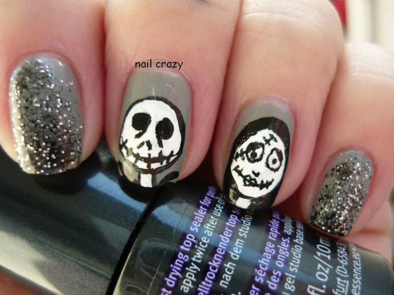 jack & sally nail art by Žana