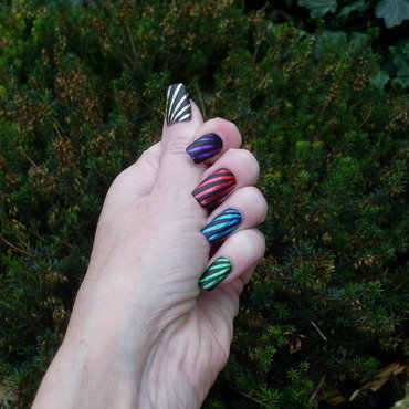 Rainbow Stripes nail art by Tracey - Bite no more