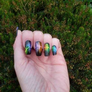 Rainbow Feather nail art by Tracey - Bite no more