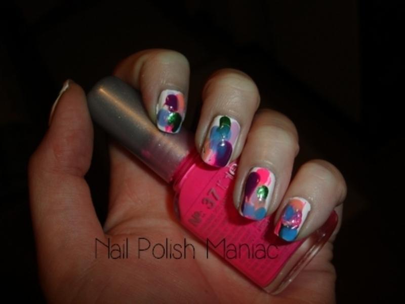 Colorful Splatter nail art by Tímea Medgyesi