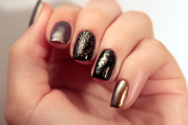 Peacock Knight nail art by Yulia