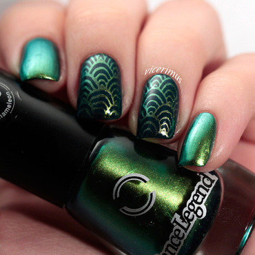 Wazowski Fish Scales nail art by Yulia