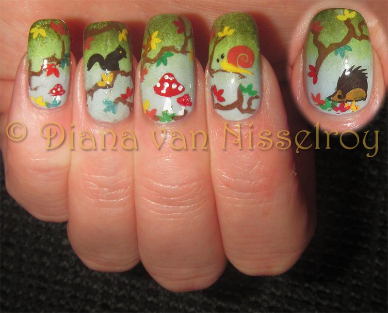 Autumn scenery nail art by Diana van Nisselroy