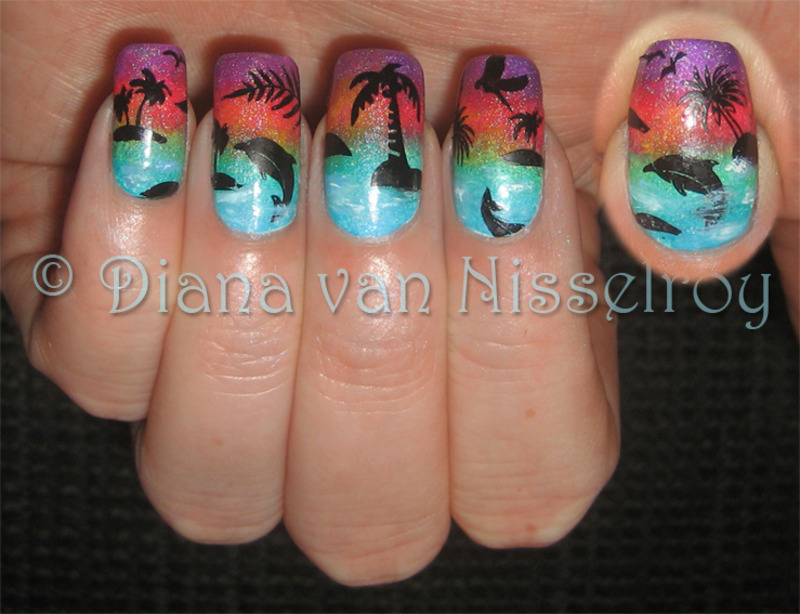 Dolphin Sunset nail art by Diana van Nisselroy - Nailpolis ...