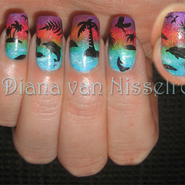 Dolphin Sunset nail art by Diana van Nisselroy