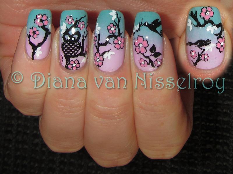 Cherry Blossom nail art by Diana van Nisselroy