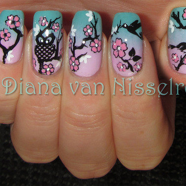 Cherry Blossom nail art by Diana van Nisselroy