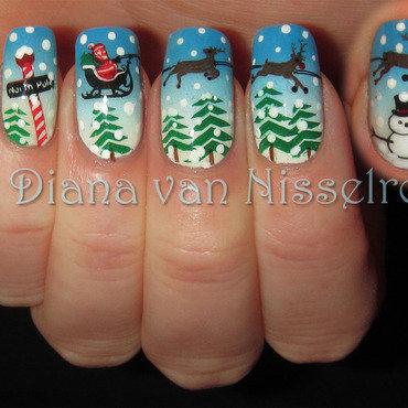 Santa's Sleigh nail art by Diana van Nisselroy