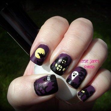 Halloween Graveyard Scene nail art by Lisa Overend