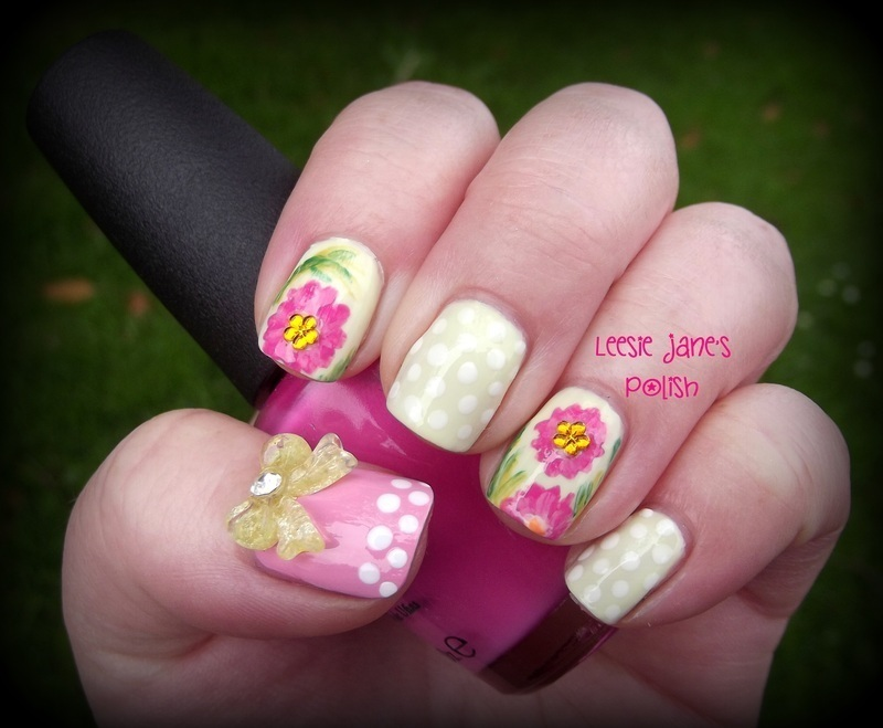 Floral and Polka Dots nail art by Lisa Overend