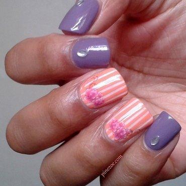 pretty flower nail nail art by Pinezoe