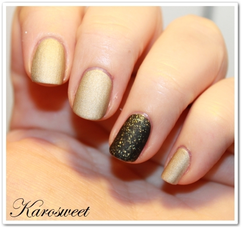 Champagne and glitters nail art by Karosweet