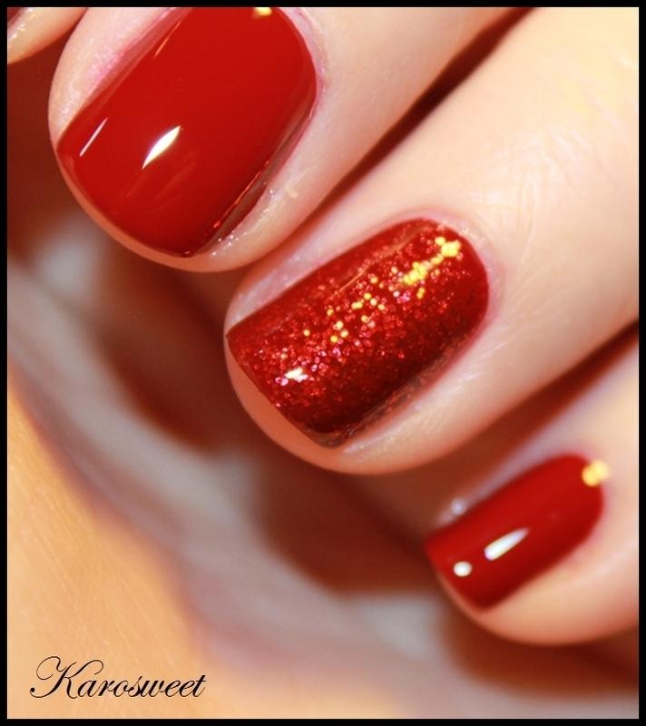 Classy red nail art by Karosweet