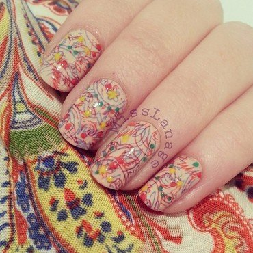 Multicolour Paisley Patterns nail art by Rebecca
