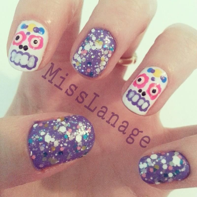 Indie Polish Sugar Skulls nail art by Rebecca