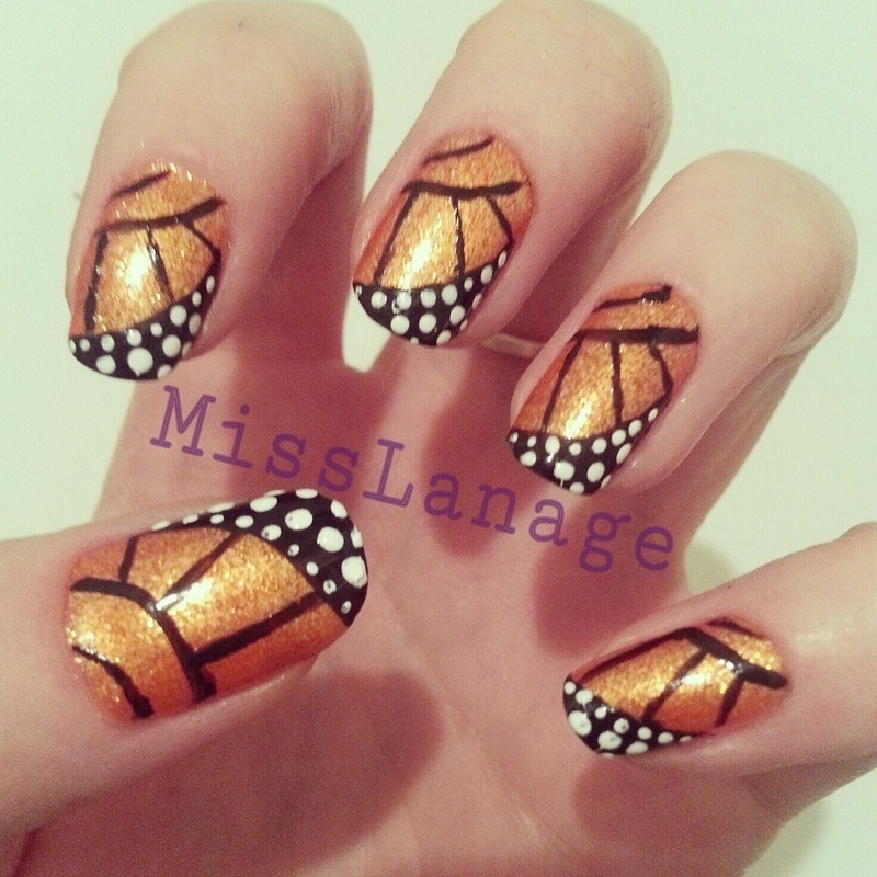 Freehand Butterfly Wings  nail art by Rebecca