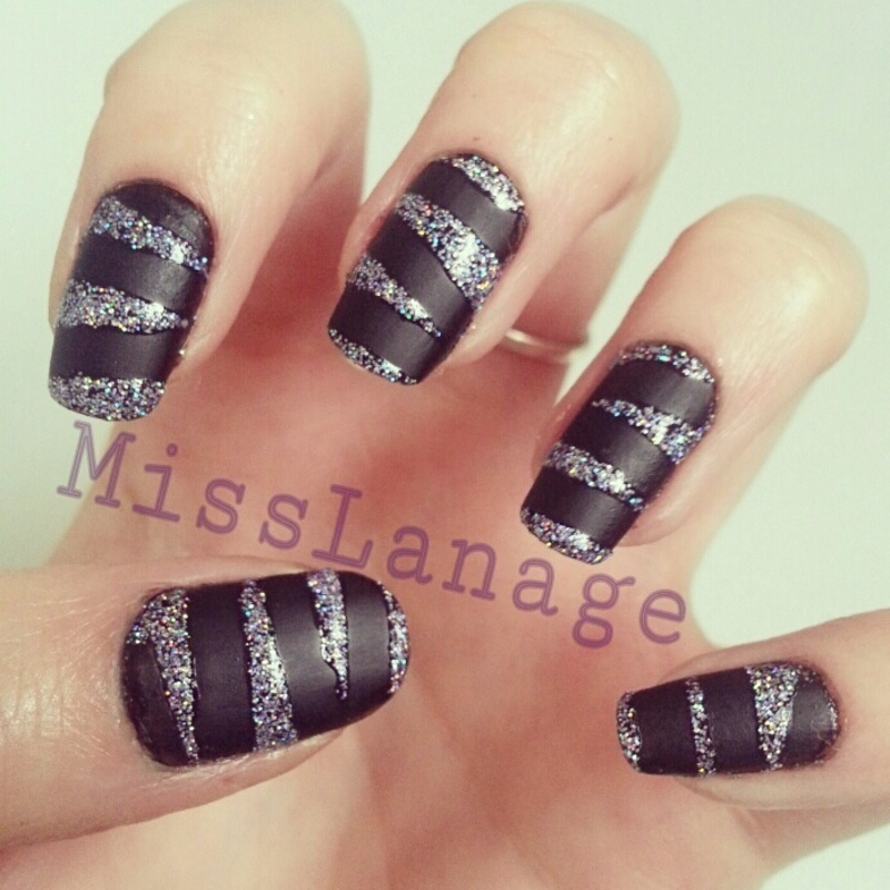 Matte & Glitter Tape nail art by Rebecca