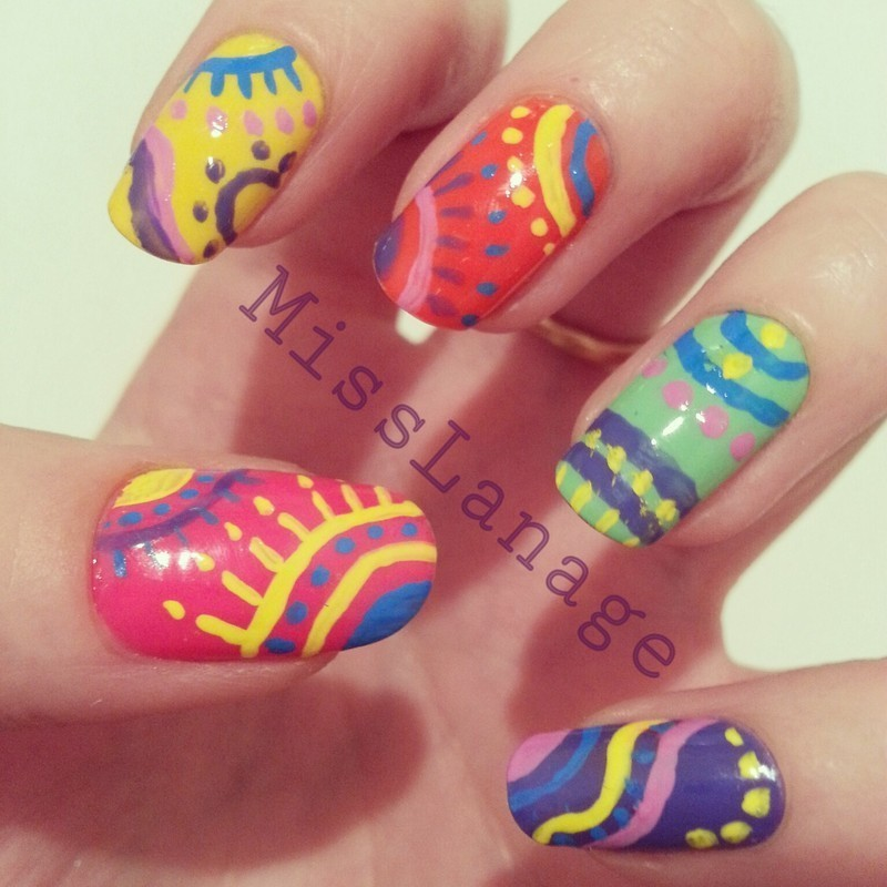 Bright South American Patterns nail art by Rebecca