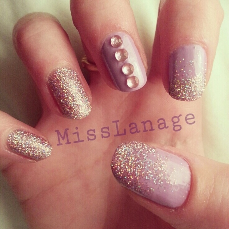 Glitter Gradient With Rhinestones Nail Art By Rebecca