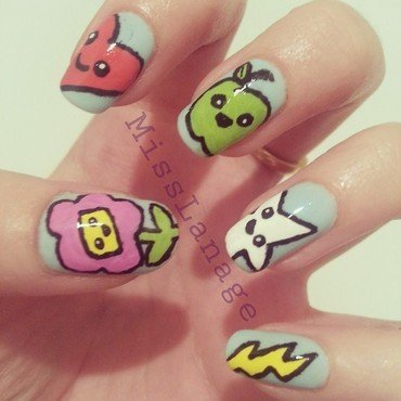 Cute Freehand Characters nail art by Rebecca