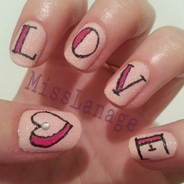 Tattoo Lettering - Love  nail art by Rebecca