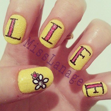 Tattoo Lettering - Life nail art by Rebecca