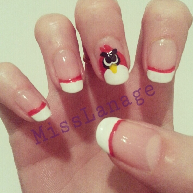 Angry Birds French Manicure nail art by Rebecca