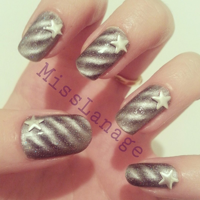 Magnetic Metallic Studs nail art by Rebecca