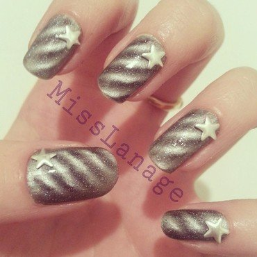 Magnetic Metallic Studs nail art by Rebecca
