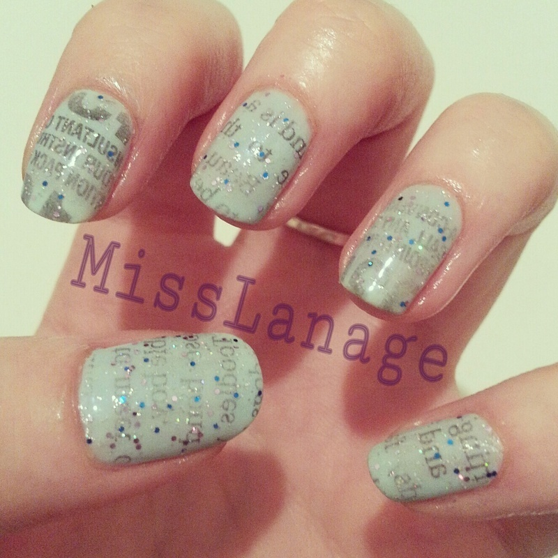 Sparkly Newspaper Print nail art by Rebecca