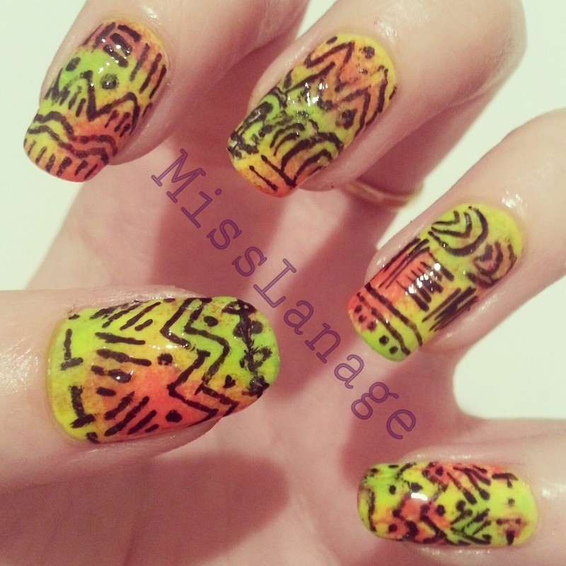 Vibrant Tribal Print nail art by Rebecca