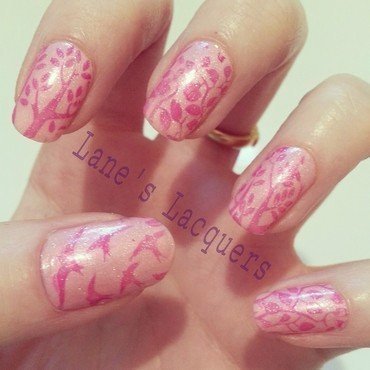 Girly Nature Print nail art by Rebecca