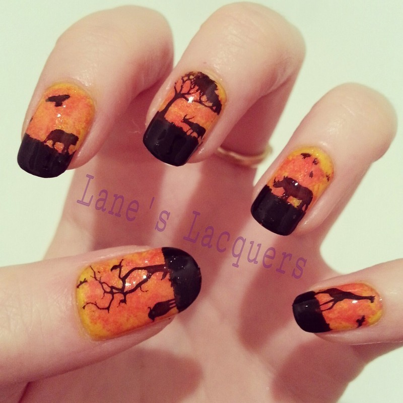Sponged African Sunset nail art by Rebecca