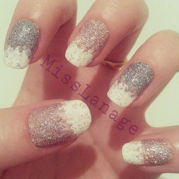 Winter Glitter Gradient nail art by Rebecca