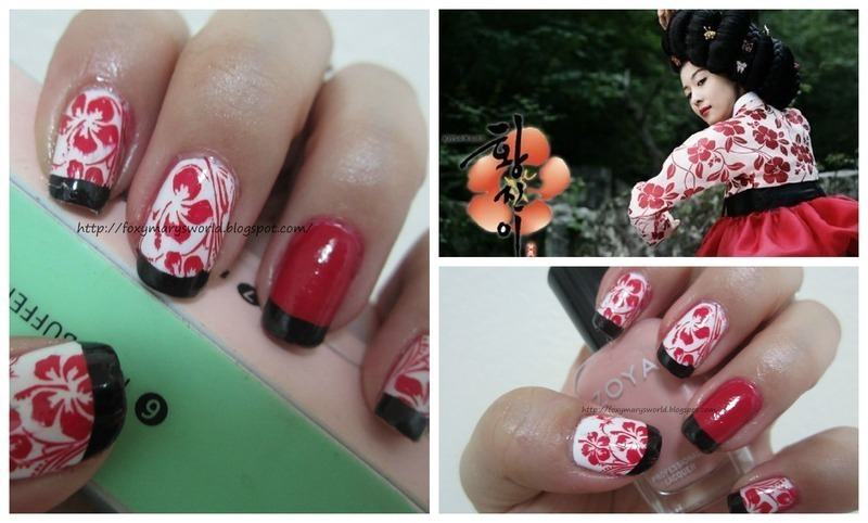 Hwang Jin Yi inspired nails nail art by Silje  Bannister