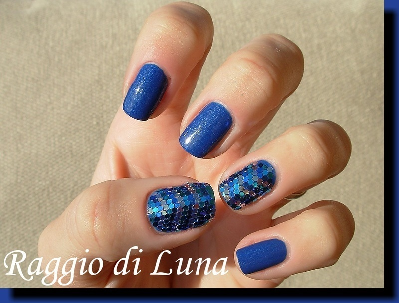 New Year's Eve blue & silver hexagonal glequins manicure nail art by Tanja