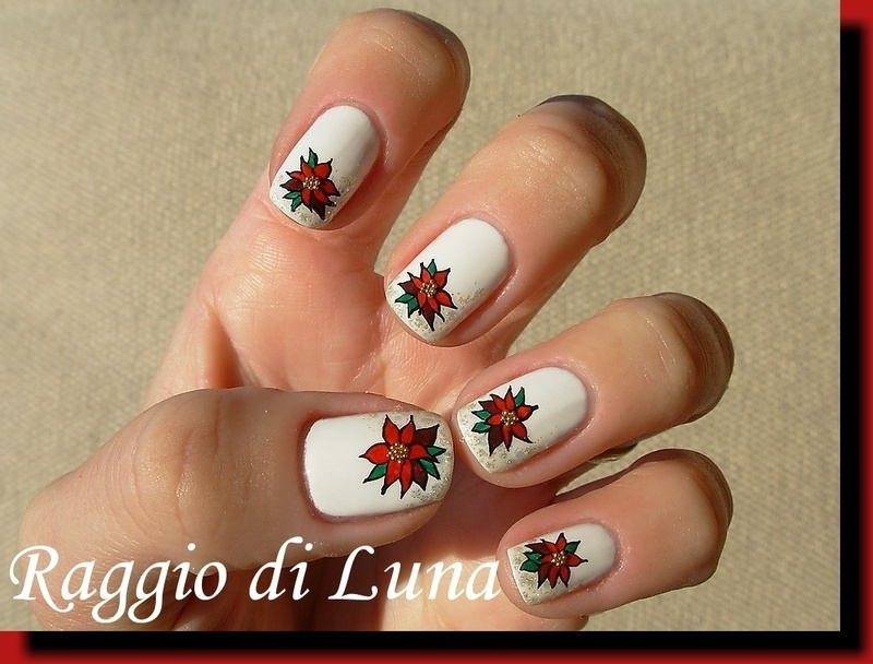 Christmas poinsettia nail art by Tanja