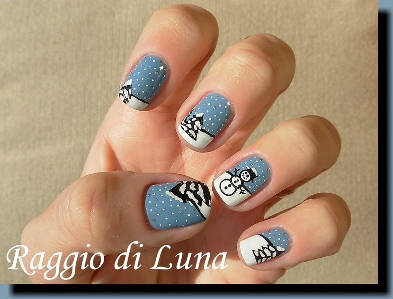 Winter scenery nail art by Tanja