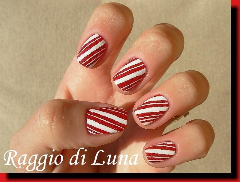 Candy cane manicure nail art by Tanja