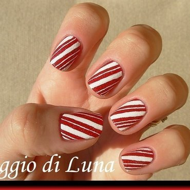 Candy cane manicure nail art by Tanja