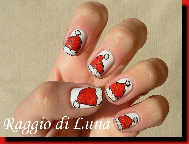 Santa hat nail art by Tanja