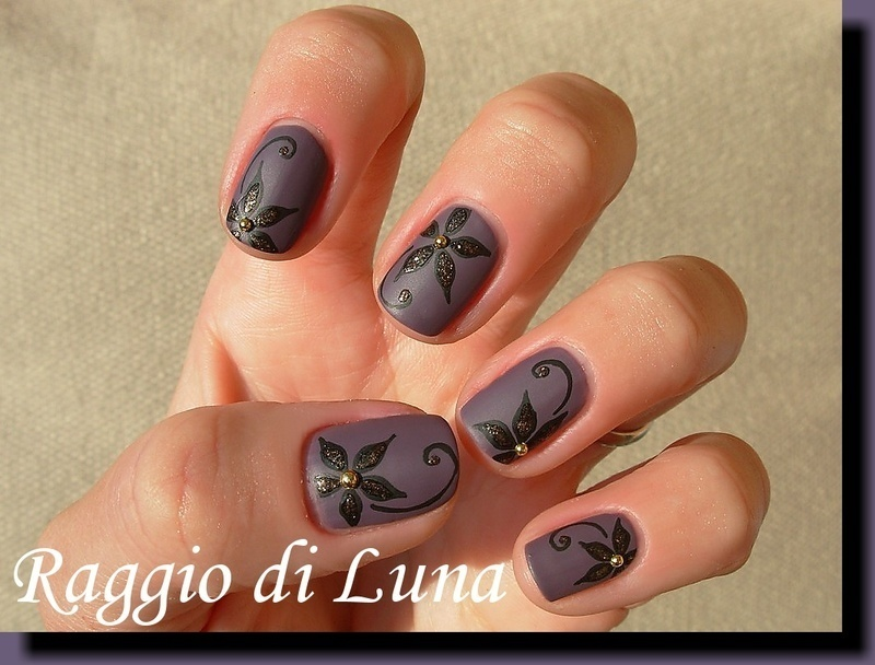 Black & golden flowers on matte purple grey nail art by Tanja